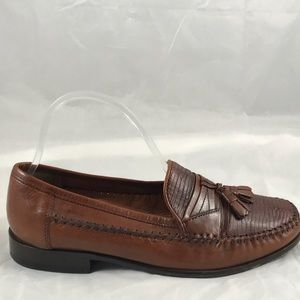 Mens Bostonian Brown Leather Tassle Loafers Size 8